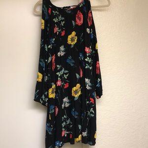 Cold shoulder black floral dress